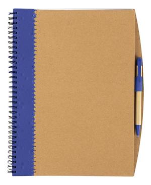 Recycled Cardboard Notebook With Pen - Avail in: Blue