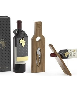 Afrique Wine & Holder Set - Wood