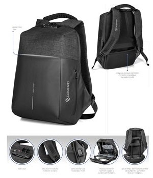 Swiss Cougar Smart Anti-Theft Backpack - Black