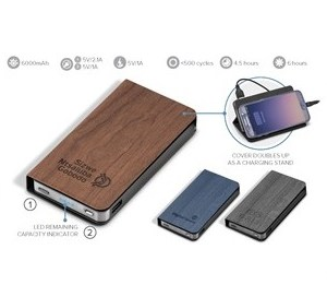 Spector Woodland 6000Mah Power Bank - Avail in: Black