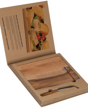 Acacia wooden board with leather loop and a fork-tipped knife - ideal for cheese! Presented in eco friendly packaging
