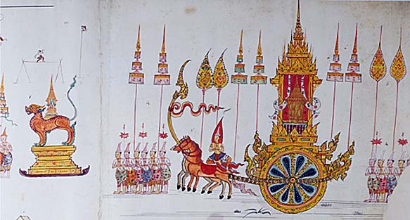 Ein Holländer hielt so im Jahre 1704 die Verbrennungsfeier eines Königs im alten Ayutthaya fest.