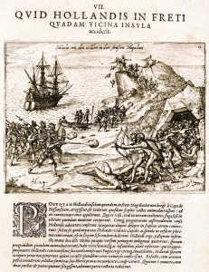 """""""Battle with the savages in the Strait of Magellan."""" A plate from the Latin edition of Olivier van Noort's 1602 description of his circumnavigation: Additamentvm Nonae Partis Americae. Hoc est, Vera Et Accvrata Descriptio Longinqvae, Divtvrnae Ac Pericvlosissimae Nauigationis: quam Olevier à Noort ... Frankfurt 1602. A famous journey that should have inspired both Abraham Hale and Christoph Carl Fernberger in their recordings."""