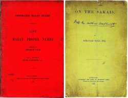 """""""Malay Proper Names"""" (1901, re-edited 1925) and """"On the Sakais"""" (1886), by Abraham Hale."""
