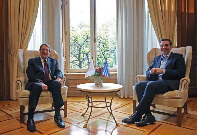 Cyprus President Nicos Anastasiades (left) with Greek Prime Minister Alexis Tsipras