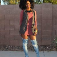 Joia Monet - Neutral Hues & Denim Thigh High Boots
