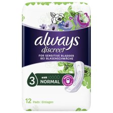 Always Discreet for Sensitive Bladder Normal Pads Σερβιέτες Ακράτειας για Κανονική Ένταση 12 Τεμάχια