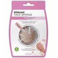 Vican Konjac Face Sponge Wise Beauty με Σκόνη Ροζ Αργίλου για Καθαρισμό του Δέρματος σε Βάθος 1 Τεμάχιο