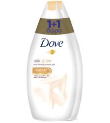 Dove Πακέτο Προσφοράς Silk Glow Ενυδατικό Αφρόλουτρο για Μεταξένια Επιδερμίδα 1+1 Δώρο 2x750ml