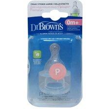 Dr. Browns Natural Flow Preemie Flow Θηλές Σιλικόνης για Στενό Μπουκάλι, Κατάλληλες για Πρόωρα Βρέφη, 2 Τεμάχια Κωδ. 292