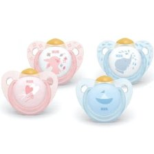 Nuk Trendline Baby Rose And Blue Ορθοδοντική Πιπίλα Καουτσούκ - Baby Blue 0-6 Μηνών