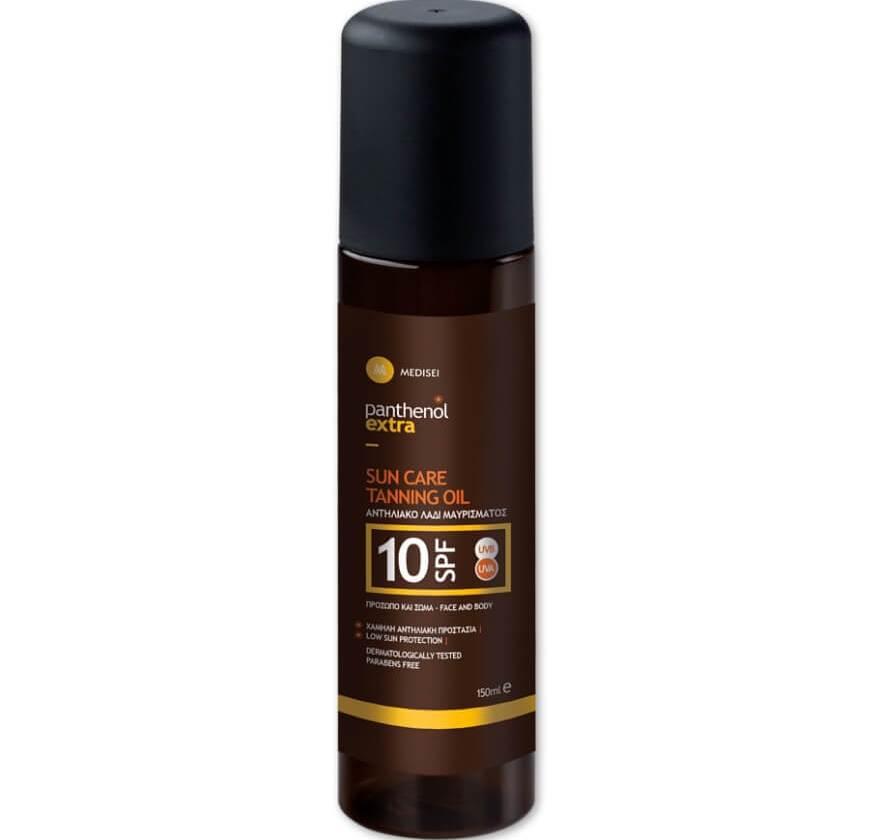 Panthenol Extra Sun Care & Tanning Oil Spf10 Αντηλιακό Λάδι Μαυρίσματος για Πρόσωπο & Σώμα150ml