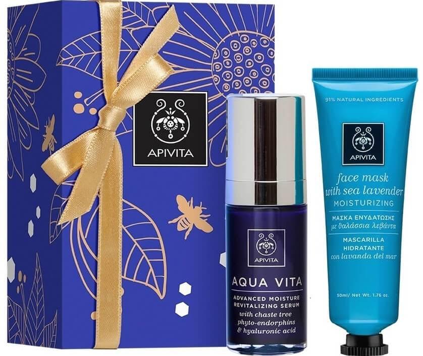 Apivita Gift Set Aqua Vita Moisturizing & Revitalizing Serum 30ml & Δώρο Moisturizing Face Mask with Sea Lavender 50ml