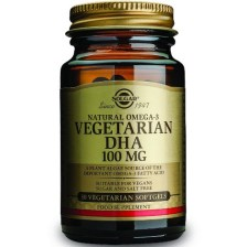 Solgar DHA Vegeterian 100mg Συμπλήρωμα Διατροφής που Ενισχύει την Εγκεφαλική Λειτουργία & το Ανοσοποιητικό 30 softgels