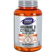 Now Foods Arginine & Citrulline 500mg / 250mg Συμπλήρωμα Αργινίνης & Κιτρουλίνης, για το Μεταβολισμό των Πρωτεϊνών 120 VegCaps