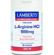 Lamberts L-Arginine HCL Συμπλήρωμα Διατροφής για τη Φυσική Τόνωση της Σεξουαλικής Επιθυμίας και Απόδοσης 1000mg 90tabs