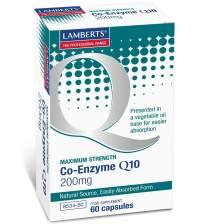 Lamberts Co-Enzyme Q10 Συμπλήρωμα Διατροφής με Ευεργετικές Ιδιότητες για την Καρδιά και το Ανοσοποιητικό Σύστημα200mg 60Caps