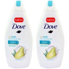 Dove Πακέτο Προσφοράς Go Fresh Pear & Aloe Vera Scent Body Wash Αφρόλουτρο Αχλάδι & Aloe για Αίσθηση Φρεσκάδας 2x500ml 1+1 Δώρο