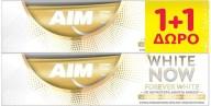 Aim Πακέτο Προσφοράς White Now Forever White Οδοντόκρεμα για Αποδεδειγμένα Λευκότερα Δόντια στο Πρώτο Βούρτσισμα 2x75ml 1+1 Δώρο