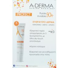 A-Derma Protect Fluide Invisible Λεπτόρευστη Κρέμα Διάφανη Spf50+, 40ml & Protect AH Lait Reparateur Apres-Soleil 100ml