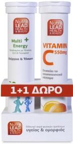 Nutralead Πακέτο Προσφοράς Multi+ Energy με Τζίνσενγκ,Q10 & Γκουαρανά 20Αναβρ.Δισκία + Βιταμίνη C 550mg - Πορτοκάλι 20Αν.Δισκία