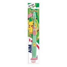 Aim Kids Pokemon Soft Παιδική Οδοντόβουρτσα Πολύ Μαλακή με Βάση Στήριξης με Βεντούζα 6+ Ετών 1 Τεμάχιο - πράσινο