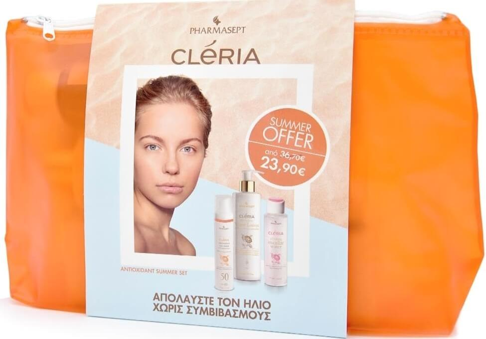 Pharmasept Cleria Πακέτο Προσφοράς Antioxidant Summer Kit Sun Cream Spf50 50ml, Hydrating Lotion 300ml & Micellar Water 100ml