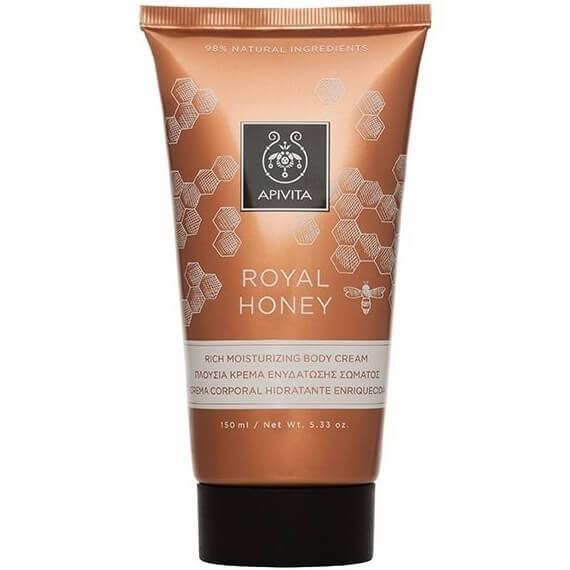 Apivita Royal Honey Rich Moisturizing Body Cream Πλούσια Κρέμα Ενυδάτωσης Σώματος με Μέλι για Ξηρές Επιδερμίδες150ml