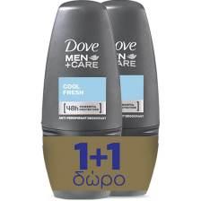 Dove Πακέτο Προσφοράς Men Care Roll On Cool Fresh Αποσμητικό 48ωρης Προστασίας Roll On 2x50ml