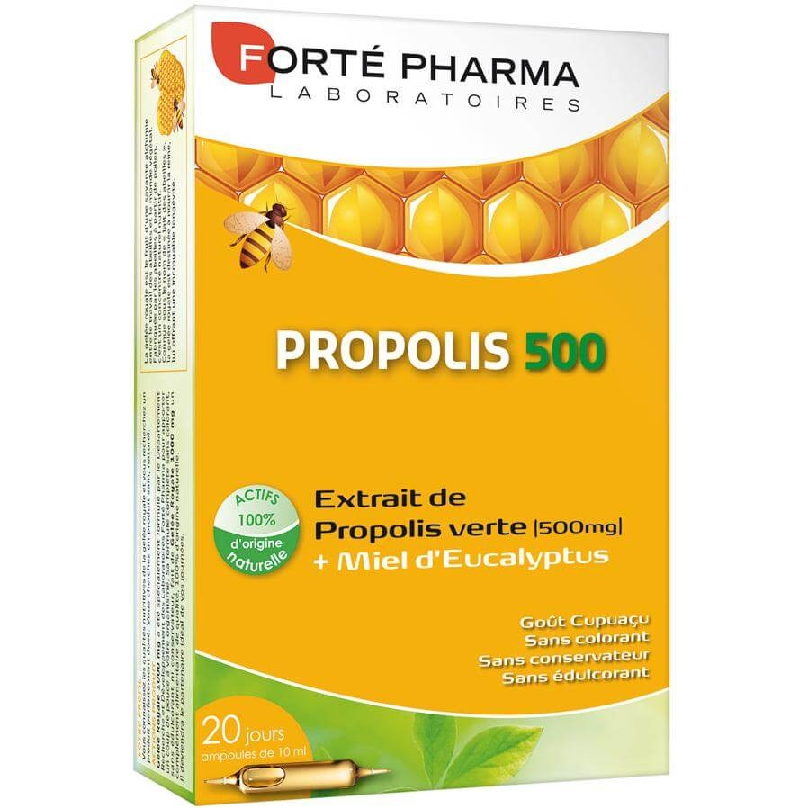 Forte Pharma Propolis 500 Συμπλήρωμα Διατροφής που Προσφέρει στον Οργανισμό Ενέργεια & Τόνωση 20amp.x10ml