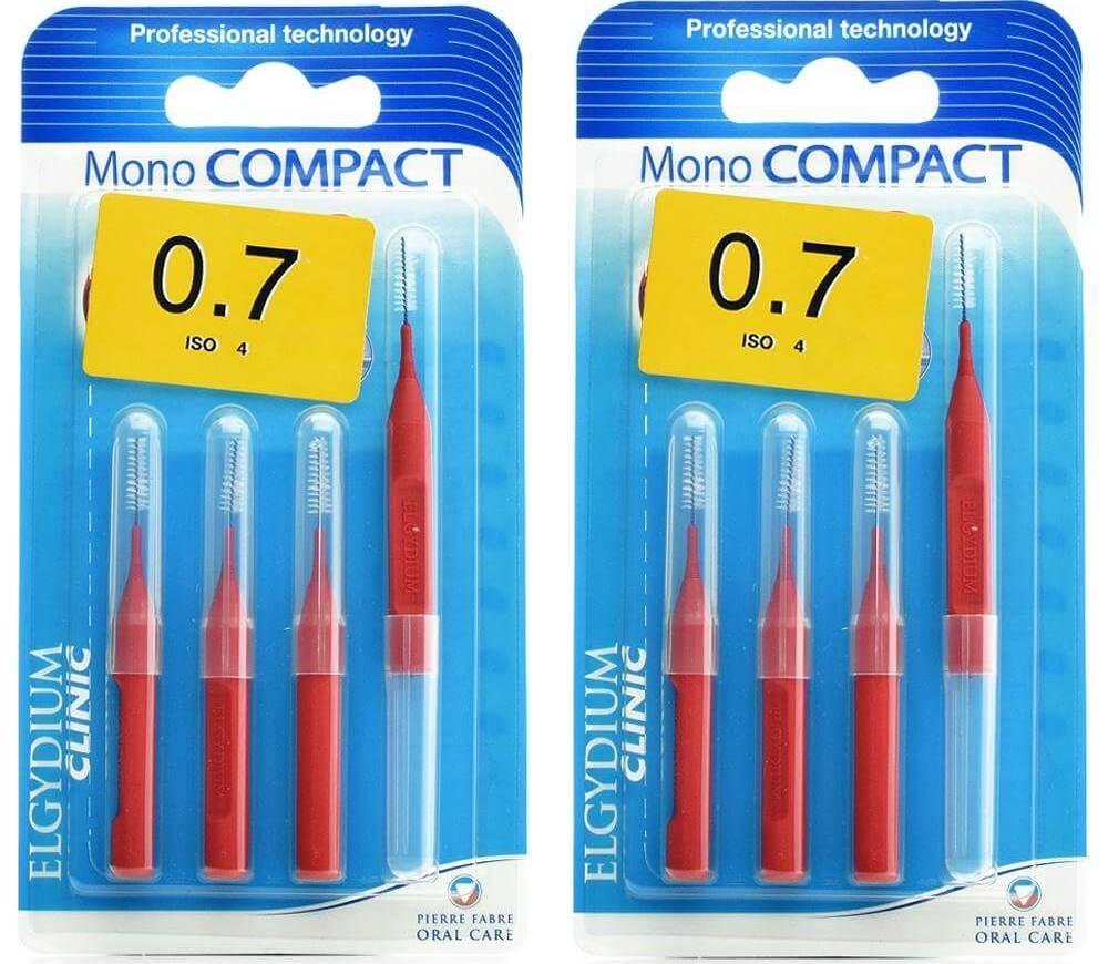 Elgydium Clinic Monocompact, Μεσοδόντια Βουρτσάκια 0.7mm Κόκκινο 2 x 4τμχ Προσφορά -50% στο 2ο Προϊόν