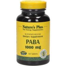 Natures Plus Paba 1000mg Συμπλήρωμα Διατροφής, Απαραίτητο για το Μεταβολισμό των Πρωτεϊνών & την Παραγωγή Φολικού Οξέος 60tabs