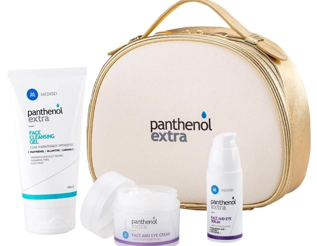 Medisei Panthenol Extra Gift for Her Premium Anti-ageing Set, Face & Eye Cream 50ml, Serum 30ml & Face Cleansing Gel 150ml