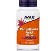 Now Foods Pantothenic Acid με Σημαντικό Ρόλο σε Αρκετές Βιοσυνθετικές Αντιδράσεις 500mg 100caps