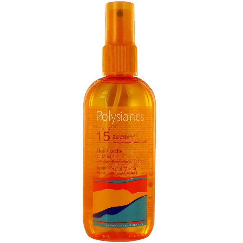 Polysianes High Protection Huile Seche With Monoi Spf15 Ξηρό Αντηλιακό Έλαιο Χαμηλής Προστασίας για Σώμα-Μαλλιά 150ml