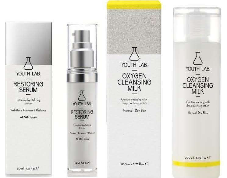 Youth Lab Winter Gift Box Restoring Serum All Skin Types 30ml & Oxygen Cleansing Milk for Normal Dry 200ml