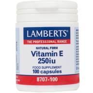 Lamberts Natural Form Vitamin E-250iu Συμπλήρωμα Διατροφής με Φυσική Βιταμίνη Ε 100tabs