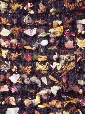 Fabric containing all manner of natural materials - herbs, flowers, seeds and so on.