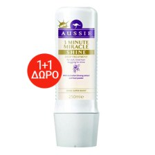 Aussie -1+1 Δώρο 3 Minute Miracle Shine Deep Treatment 2x250ml - Κρέμα για ενυδάτωση και λάμψη για ξηρά και ταλαιπωρημένά μαλλιά