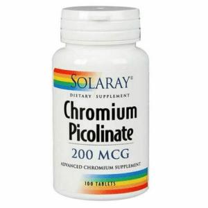 Solaray Chromium Picolinate 200mcg 100 Tablets