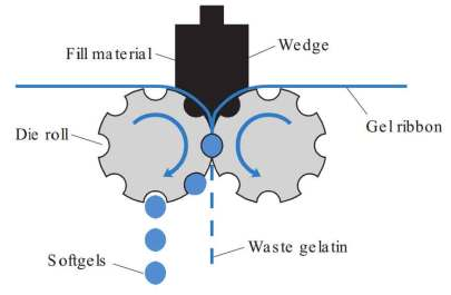 Manufacture of soft gelatin capsules: Softgel formation mechanism (rotary die mechanism)