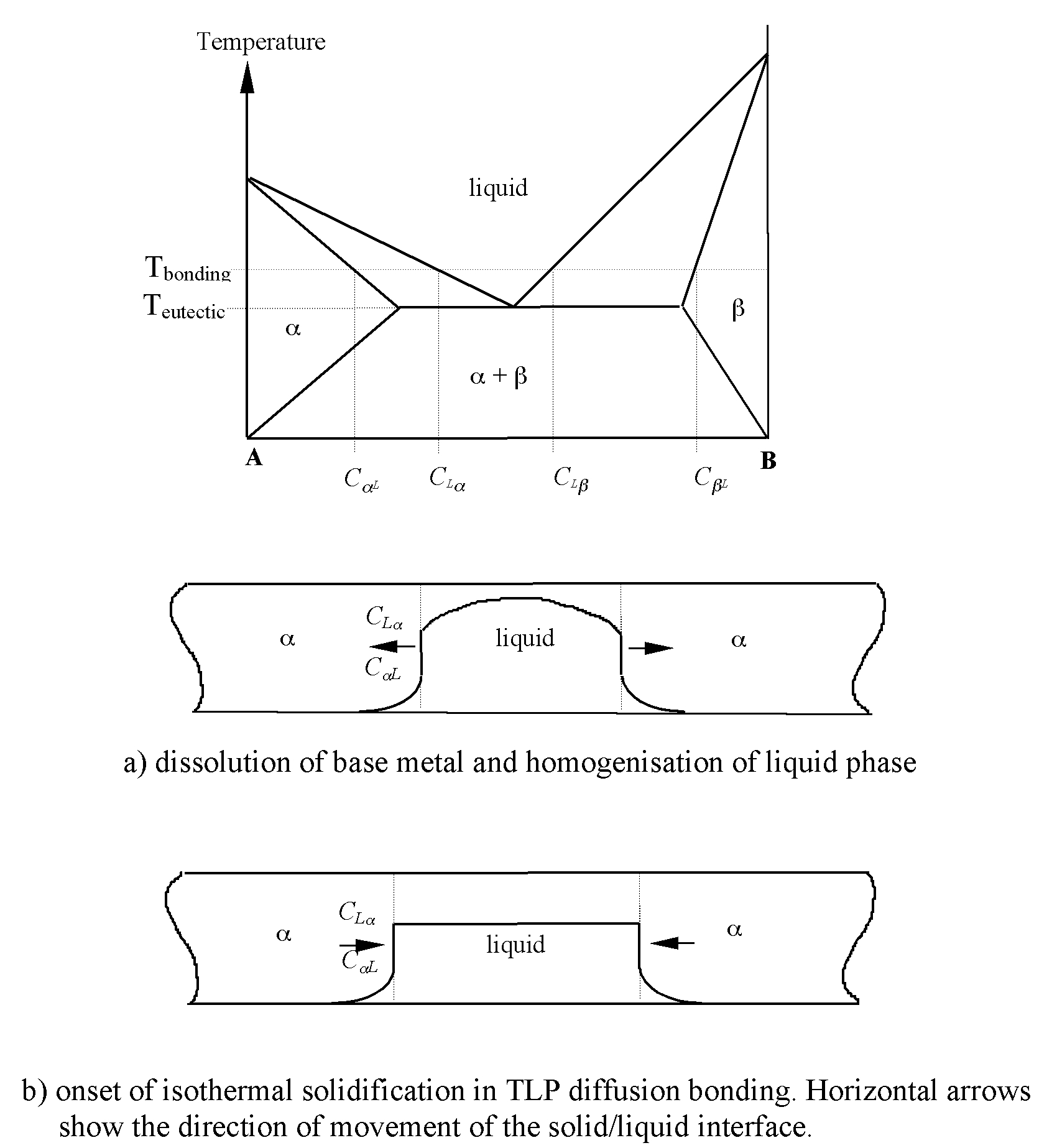 hight resolution of according to the phase diagram equilibrium in the liquid can be established by dissolution of a atoms into the supersaturated b rich liquid to decrease its