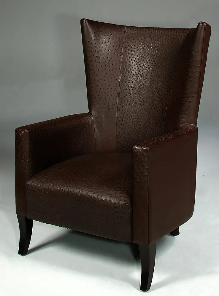 leather wingback chairs south africa massage chair costco genuine ostrich skin phases african decor tribal