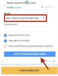 Dataiku prepare recipe python settings