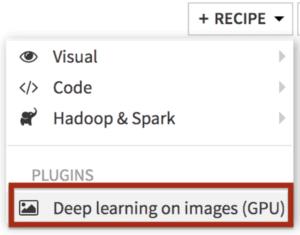 Dataiku deep learning on images recipe