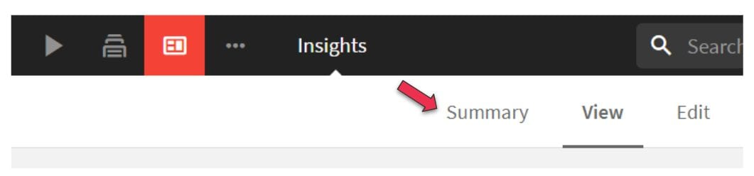 In the newly created insight, select Summary