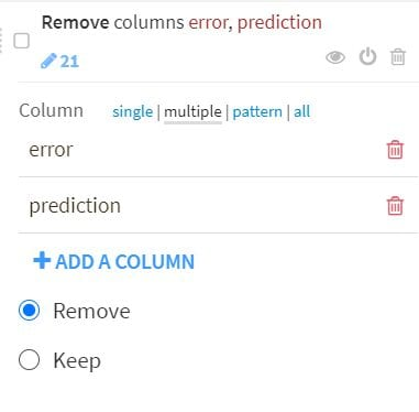 With the predictions un-nested, we can remove the original prediction columns. Add a Remove Columns step