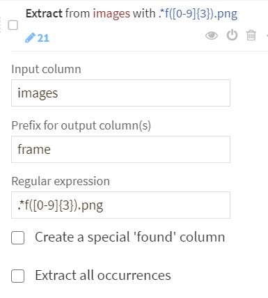 Add an Extract step to extract the frame number from the file name. We'll use the individual frame-level scores later.