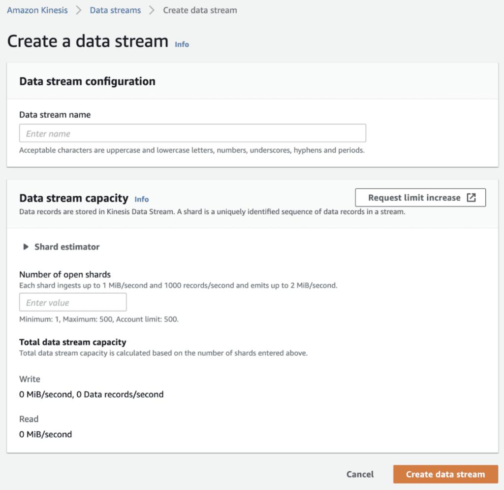 Amazon Kenesis - how to create a data stream.