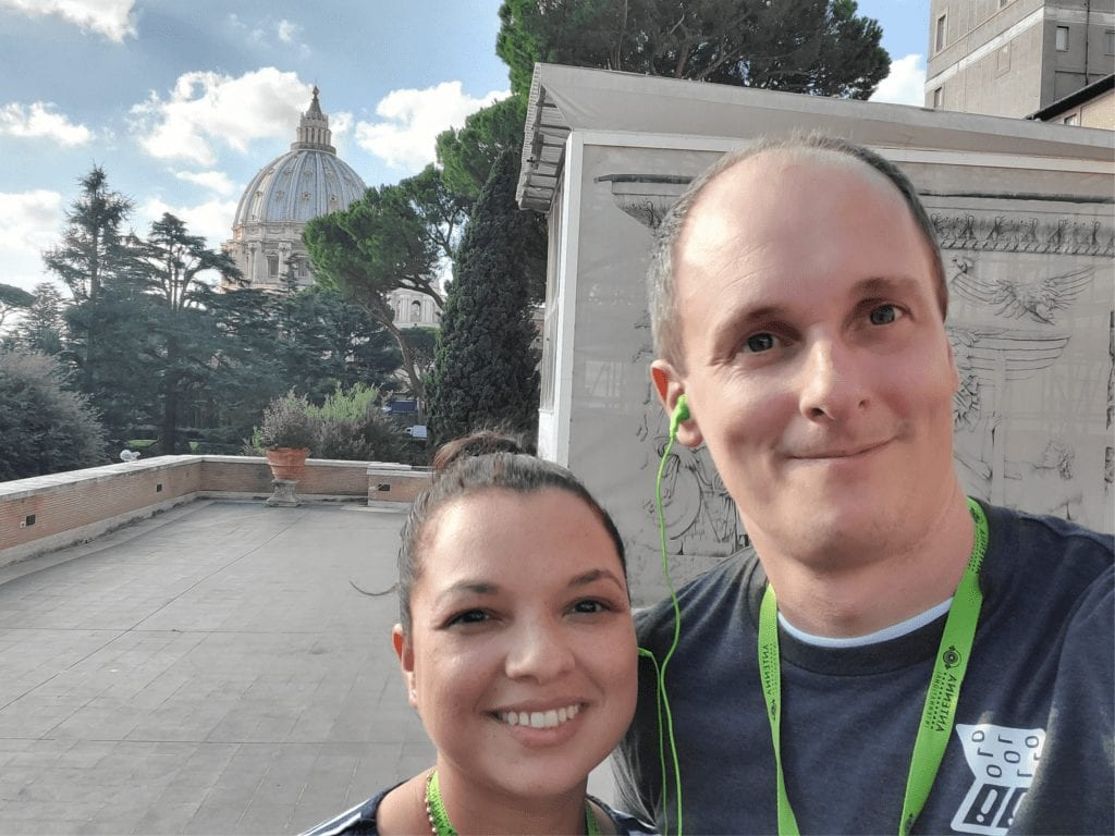 a picture in Italy of Frank and his wife